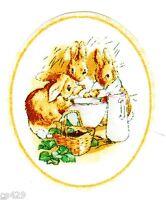 "3"" Beatrix potter bunny rabbit oval basket nursery wall safe fabric decal cut"