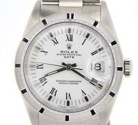 Mens Rolex Date Stainless Steel Watch Oyster Bracelet White & Black Roman 15010
