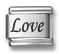 Italian Charm Bracelet Links Laser Word Love 9 mm Stainless Steel Modular