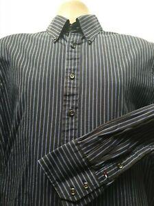 Tommy Hilfiger Mens Large Stunning Vintage Black Royal Blue White Stripe Shirt