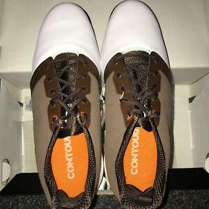 FootJoy Contour Fit Men's Golf Shoes New White/Brown 8, 9, 9.5, 10, 10.5, 11, 12