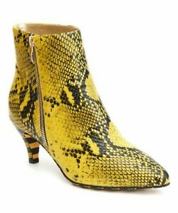 Lola Ramona Yellow  Snake Embossed Bootie Women 8 M