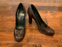 """Coach Brown """"Cammy"""" Patent Leather Pump Heels, Size 7.5"""