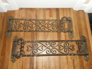 Antique STUNNING Bronze Victorian Large Door Push Pulls Hardware Handles - RARE