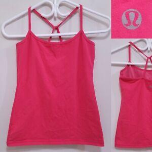 Lululemon Power Y Red Orange Pink Tank Top Size 4 XS Yoga Racerback Shirt