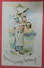 ANTIQUE VICTORIAN TRADE CARD ADVERTISING AMERICAN SEWING MACHINE CO-DECATUR IN