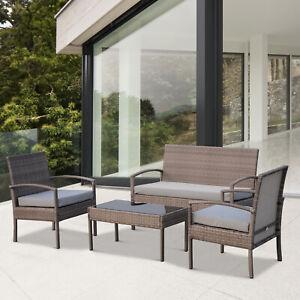 4pcs Outdoor Rattan Conversation Set Garden Sofa Table Furniture Grey