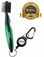Golf Brush and Club Groove Cleaner - Easily Attaches to Golf Bag - Green