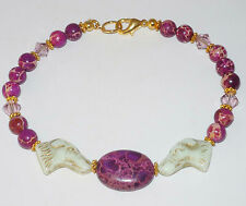 Designer Beaded Bracelet wCzech Glass Greyhound Beads, Magnasite, Swarovski