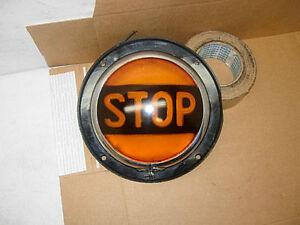 "NOS VINTAGE 9 1/2"" GRIFFIN 200F AMBER GLASS STOP LIGHT STREET ROD GASSER 32 FORD"
