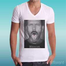 """T-SHIRT UOMO a V """" DR. HOUSE FEEL BETTER """" IDEA REGALO ROAD TO HAPPINESS"""