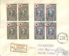 CURACAO 1945-5-16  LP45/52 BLOCKS  4x REG+CENSOR  F/VF