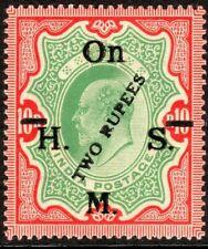 India1909 HMSO green/carmine  2r on 10r watermark star mint SGO101a