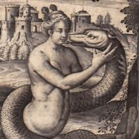 Gravure XVIIIe Cadmus Hermione Ἁρμονία Thèbes Kadmos Serpent Snake