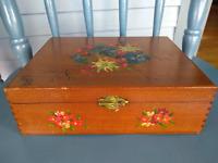 Vintage Hinged Cigar Box Painted - Initialed