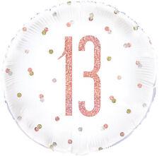 "13th BIRTHDAY BALLOON 18"" ROSE GOLD & WHITE HOLOGRAPHIC UNIQUE FOIL BALLOON"