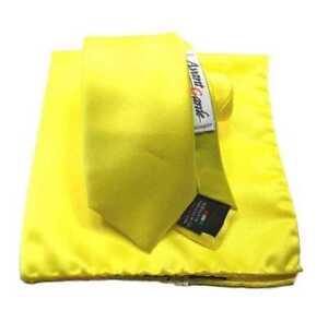 COMPLETO giallo CRAVATTA gialla yellow SKINNY TIE 6 CRAVATTINO E FAZZOLETTO ITAL