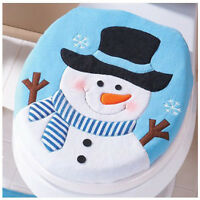 New Christmas Decoration Snowman Santa Happy Toilet Seat Cover Bathroom RUG Blue