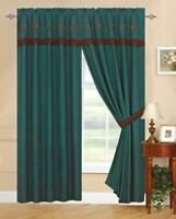 Texas Western Embroidery Star Suede Curtain With Lining Set - Turquoise
