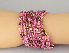 15 Purple Pink bracelet seed bead stretch set pack beaded stack stacking