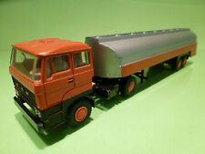 LION CAR 58 37 DAF 2800 TRUCK + TANKER - ORANGE + GREY 1:50 - GOOD CONDITION