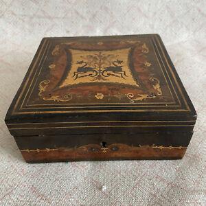 Antique Inlaid Tropical Wood Box Carved Cherubs