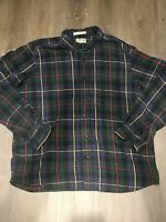 LL Bean Men's Button Down Traditional Fit Flannel Plaid Shirt Blue/Green XL