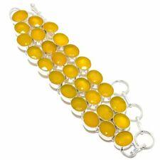 "Yellow Sapphire Gemstone 925 Sterling Silver Bracelet 7-8"""