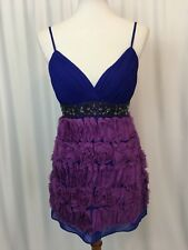 Sue Wong Nocturne Prom Party Dress Purple Blue Sequins Raised Flowers Size 4