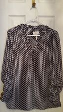 Laundry Sheer Navy / Ivory / Black Print Career Blouse. Size M
