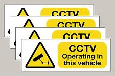 4 Double sided Yellow Vehicle CCTV stickers taxi minibus etc Free 1st P&P