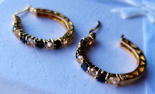 GENUINE SAPPHIRE & TOPAZ GEMSTONES  18K GOLD  925 STERLING SILVER  HOOP EARRINGS
