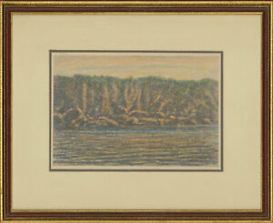 Henry E. Foster (1921-2010) - Signed 1968 Pastel, Cliffs at Torquay, Sunset