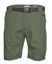 NWT Mens Medium Coleman Belted Cargo Active Shorts. MSRP $65 Olive Green