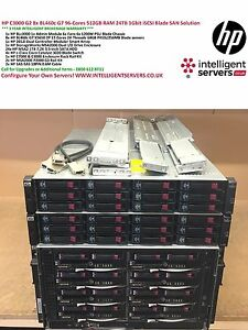 HP C3000 G2 8x BL460c G7 96-Cores 512GB RAM 24TB 1Gbit iSCSI Blade SAN Solution