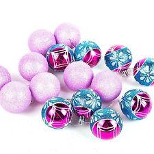 ALBERO di Natale da appendere pallina decorazioni (60mm) 16 x glitter color foglia di tè/fucsia