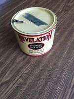 Revelation smoking mixture tobacco tin W/ Tax Stamp, Opener & Lid Great Shape