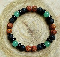 Semi Precious Natural Stones Volcanic Lava Rocks DZI Boho Power Bead Bracelet UK