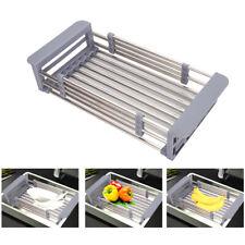 Organizer per lavello da cucina con scolapiatti regolabile in acciaio inox