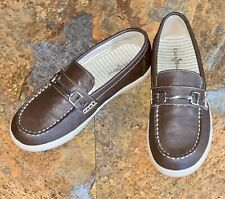 Cole Haan Boys Trip Penny Loafers Drivers Slip-On Dress Shoes Brown Youth 2