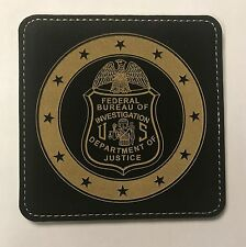 "DOJ FBI Federal Bureau of Investigation 4"" Black Leather Coasters Set of 4"