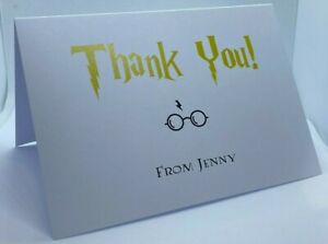 Pack of 10 Harry Potter Inspired Personalised Thank You Cards