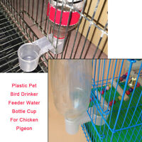 2Pcs Plastic Pet Bird Drinker Feeder Water Bottle Cup For Pigeon Chicken Durable