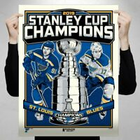 """St. Louis Blues 2019 Stanley Cup Champions Limited Edition 18"""" x 24"""" Serigraph"""