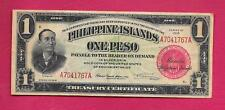 1918 PHILIPPINES TREASURY CERTIFICATE ONE PESO CARMONA SIGN A7041767A P-60b