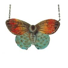 "Blue Metalmark Butterfly resin pendant Beijo Brasil Necklace large/statement! 4"""