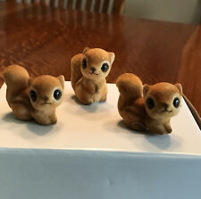 Joseph Originals, Small Flocked Squirrels, Set of 3. Found in Auction Box