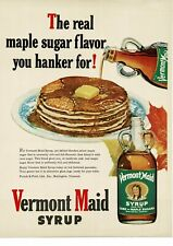 1950 VERMONT MAID syrup stack of pancakes breakfast maple VTG PRINT AD