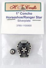 "1"" Horseshoe w/Ranger Star Concho - Antique Silver Plate - Screwback"