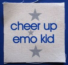 'CHEER UP EMO KID' with stars CLOTH PATCH sew on **FREE SHIPPING** punk hardcore